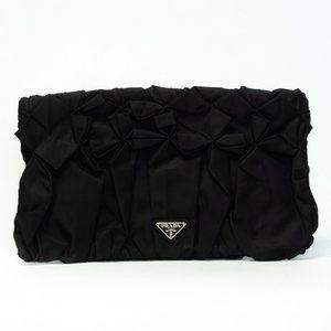 PRADA BLACK DIAMOND PLEATED TESSUTO CLUTCH